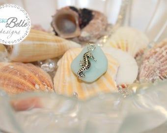 "Faux Sea Glass Neckace Aqua with Tibetan Silver Seaorse Charm - 16.5"" Silver Plated Snake Chain"