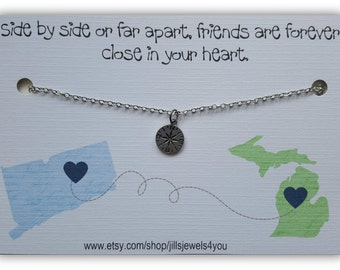 Long Distance Friendship Necklace, Best Friend Necklace, Friendship Necklace Pick your state, Graduation Gift, Going Away State to State