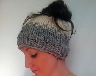 Knit Ponytail Hat, Knit Headband, Gray Knit Hat, Chunky Wool Hat, Sigourney Hat Grey Marble Fisherman
