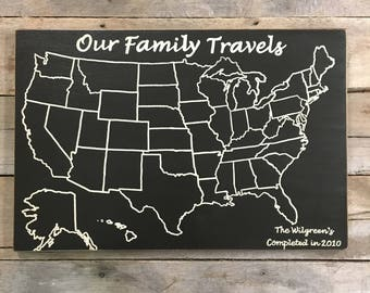 Travel Map | Adventure Map | Our Family Travels | US Wood Map | USA Travel Map | Personalized | US Map with pins | Customized | Rustic