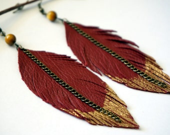 Red Leather Feather Earrings - Rustic Leather Earrings - Large Leather Earrings - Feather Earrings - Leather Earrings - Recycled Earrings