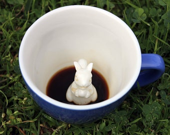Squirrel Mug by CREATURE CUPS | Hidden Squirrel Cup | Animal Blue Ceramic Mug | Holiday and Birthday Gift for Coffee & Tea Lovers