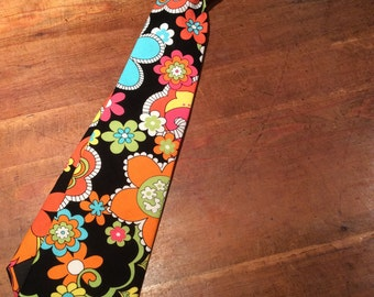 Tie Hand Made with Feeling Groovy Floral Rosemarie Lavin Fabric.