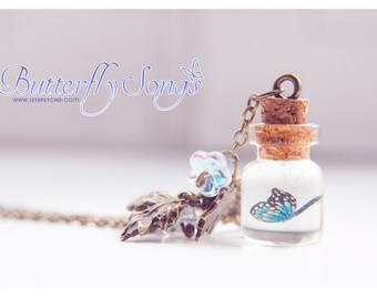 Butterfly Necklace, butterfly Bottle Necklace. botanical jewelry ,Glass Vial necklace, Cute pendant, Inspirational Gift for women