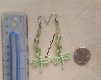 Lime Green Dragonfly Pierced Earrings