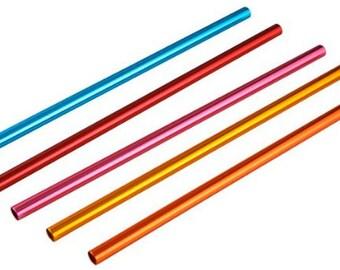 Set of 5 - 8.5 inch Aluminum Straws