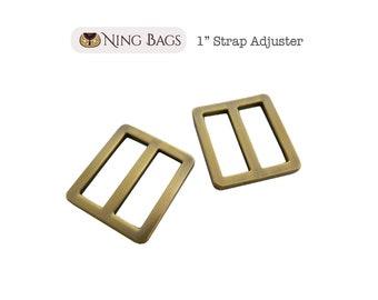 """Set of 6 // 1"""" Strap Adjuster, Squared Edges Strap Slider, Rectangular Strap Ring in Brushed Antique Brass"""