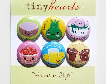 """Hawaiian Style Set - 1"""" Cute Kawaii Food Magnets"""