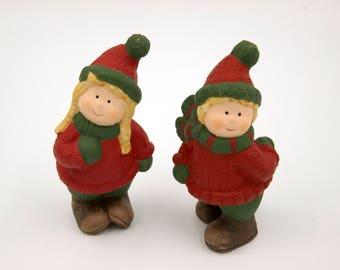 Vintage Nordic Swedish porcelain tomte nisse boy girl couple Christmas figurines ornaments