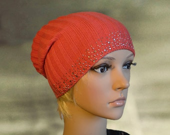 Slouch beanie hat, Slouchy beanie tam, Coral boho hat, Knit slouchy hat, Spring summer hat, Light thin hat tam, Knitted beanie hat, Knit cap