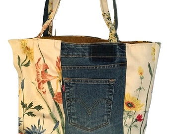 Floral patchwork handbag, top handled shoulder bag, large tote bag, upcycled fabric bag, U.S. made, handmade denim bag, large market bag