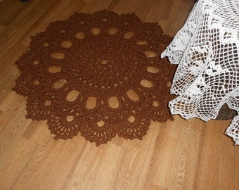 """Crocheted rug """"Magnificent"""" brown"""