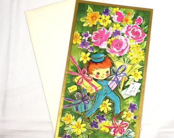 Vintage Vivica Embossed Special Delivery Boy w Packages Large Greeting Card // Vintage Get Well Card // 1960's Ephemera // Get Well Packages