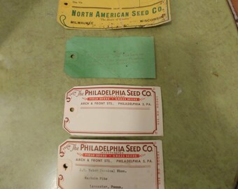 Antique Seed sack tags dated and undated