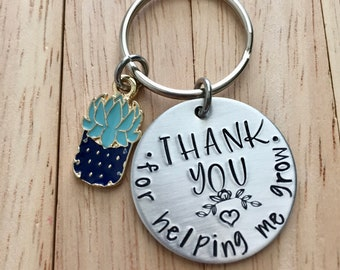 "Thank You For Helping Me Grow~Aluminum LIGHT WEIGHT~ Small 1.125"" Key Chain"