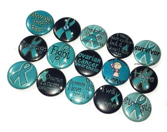"Ovarian Cancer, Teal Ribbon, 1"", Button Magnet, Teal Ribbon Magnet, Ovarian Cancer Magnet, Teal Ribbon Decor, Teal Magnet, Teal Ribbon Theme"