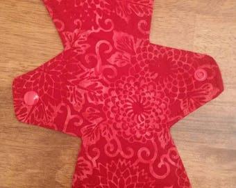 "11"" Red Batik Flower cloth pad"