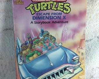 SUMMER SALE 1991 Ninja Turtles Escape from Dimenion X Story Book Adventure Random House