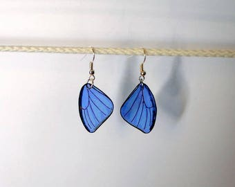 Handcrafted Semi-Transparent Morpho Butterfly Earrings, dangle earrings, teardrop, Handcrafted Jewelry, 14 k gold, Sterling Silver, hypo