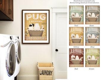 pug dog laundry basket company laundry room artwork UNFRAMED signed artists print by stephen fowler geministudio