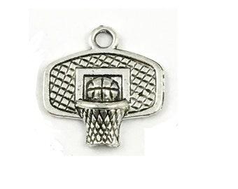 Charm silver basketball hoop (E19) sport