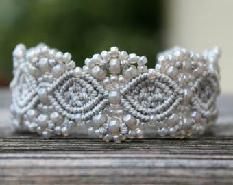 Micro-Macrame Cuff Bracelet. Modern Macrame. Beaded Cuff. Silver Cuff Bracelet. Macrame Cuff. Statement Jewelry. Boutique Fashion Piece.
