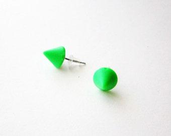 Green spike stud earrings, spike post earrings, small green earrings, green cone posts, green plastic earrings, light weight post earrings