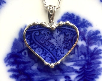 Antique Edwardian Flow Blue, porcelain necklace pendant, made from a broken plate, broken china jewelry, upcycled, Dishfunctional Designs