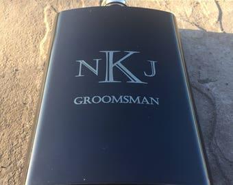 Groomsmen Flask. Personalized Black Flask. Groomsmen Gifts. Flask. Mens. Best Man. Groomsman Gift.