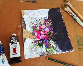 Wedding bouquet original, signed mixed media painting