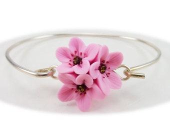 Pink Cherry Blossoms Cluster Bracelet - Cherry Blossom Jewelry, Sakura Jewelry