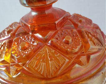 Imperial Carnival Glass compote covered marigold hobstar