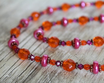 Hot Pink and Orange Necklace Bracelet and Earrings Jewelry Set / Gifts for Her / Pink and Orange / Jewelry Set / Bright / Bold / Sparkly