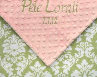 Personalzed Baby Blanket - Shabby Chic Baby Girl Blanket , Personalized Baby Girl Blanket , Damask and Minky Dot Baby Blanket