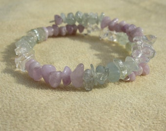 Aquamanie, Amethyst and Quartz Healing stones, Courage and Meditation, Light purple natural amethyst, Gemstone synergy bracelet