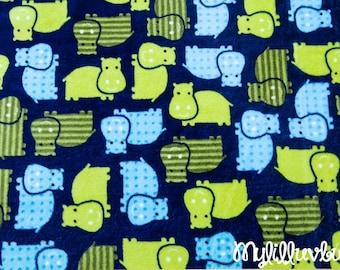 Minky fabric by the yard- Robert Kaufman Urban Zoologie Hippo cuddle midnight- Hippo minky fabric- one yard