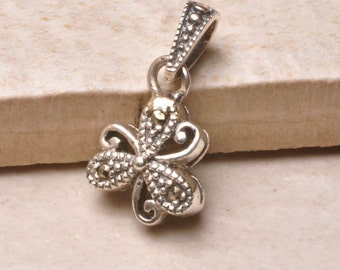Solid Silver Marcasite Shamrock Pendant
