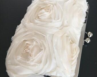 Ivory Frayed Rosette Clutch