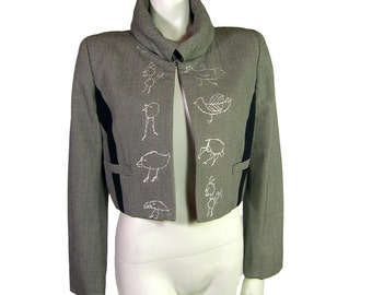 Vintage Comme des Garcons Bolero Jacket with embroided Birds 1989