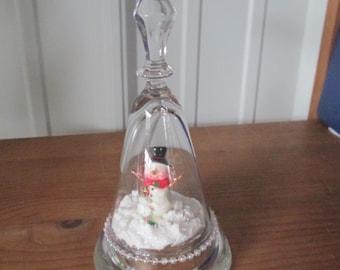 Sherry glass tea light holder with snowman miniature ooak
