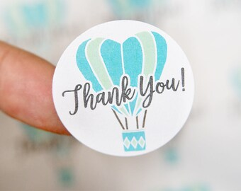 Thank You Stickers - Blue Hot Air Balloon Stickers - Thank You Labels -Packaging Stickers - Favor Stickers - Thank You Labels - 48 Pieces