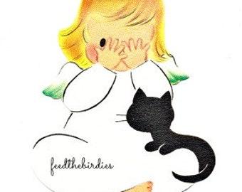 Digital Download Vintage Angel and Black Cat Gift Tag Christmas Clip Art Image Printable