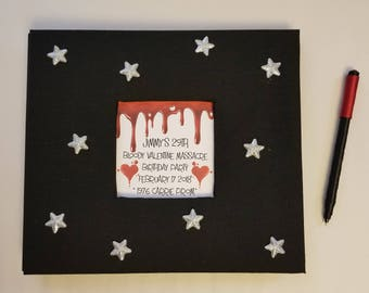 Carrie Prom Theme Guest Book Set - Any other theme available! - Birthday Party, Etc - Valentine's Stars Blood Hearts