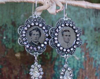 Gem tintype Memento Mori Earrings steampunk gothic Victorian Memory antique vintage assemblage mourning jewelry rhinestone earrings