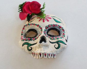 Day of The Dead Mask, Sugar Skull, skull mask, half mask, red flower, paper mache, wearable, Calaca