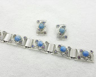 Art Glass and Iris Glass Rhinestones Bracelet and  Clip earrings Mid Century Modern  Retro Colorful Silver tone