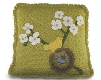 Crochet Pillow Pattern PDF Nesting Bird