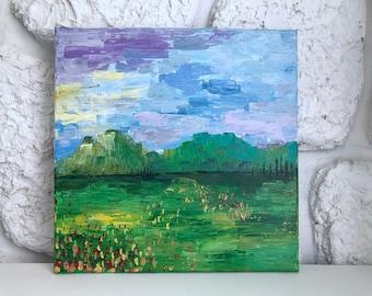 Acrylic landscape painting, 12x12