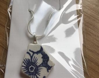 Sea Pottery Pendant, Sea Pottery Necklace, Handmade Jewellery,Welsh Jewellery,Beach pendant,beach necklace