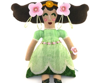 Ozma of OZ Plush Doll, princess, flowers, art doll, green, stuffie, stuffed animal, floral, flowers